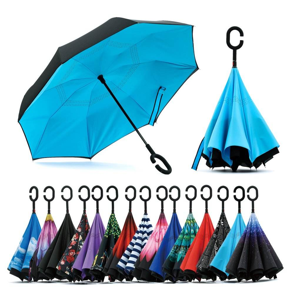 Amazon Best Seller Double Fabric Windproof C shape Handle Upside Down Inverted Reverse Umbrella
