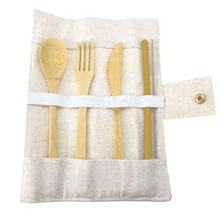 reusable camping flatware bamboo fiber cutlery travel set disposable
