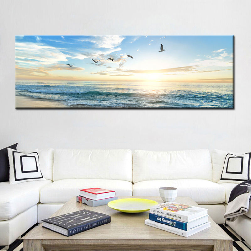 Natural Sea Beach Flying Birds Landscape Posters and Prints Canvas Painting Wall Art Picture for Living Room Cuadros Decor