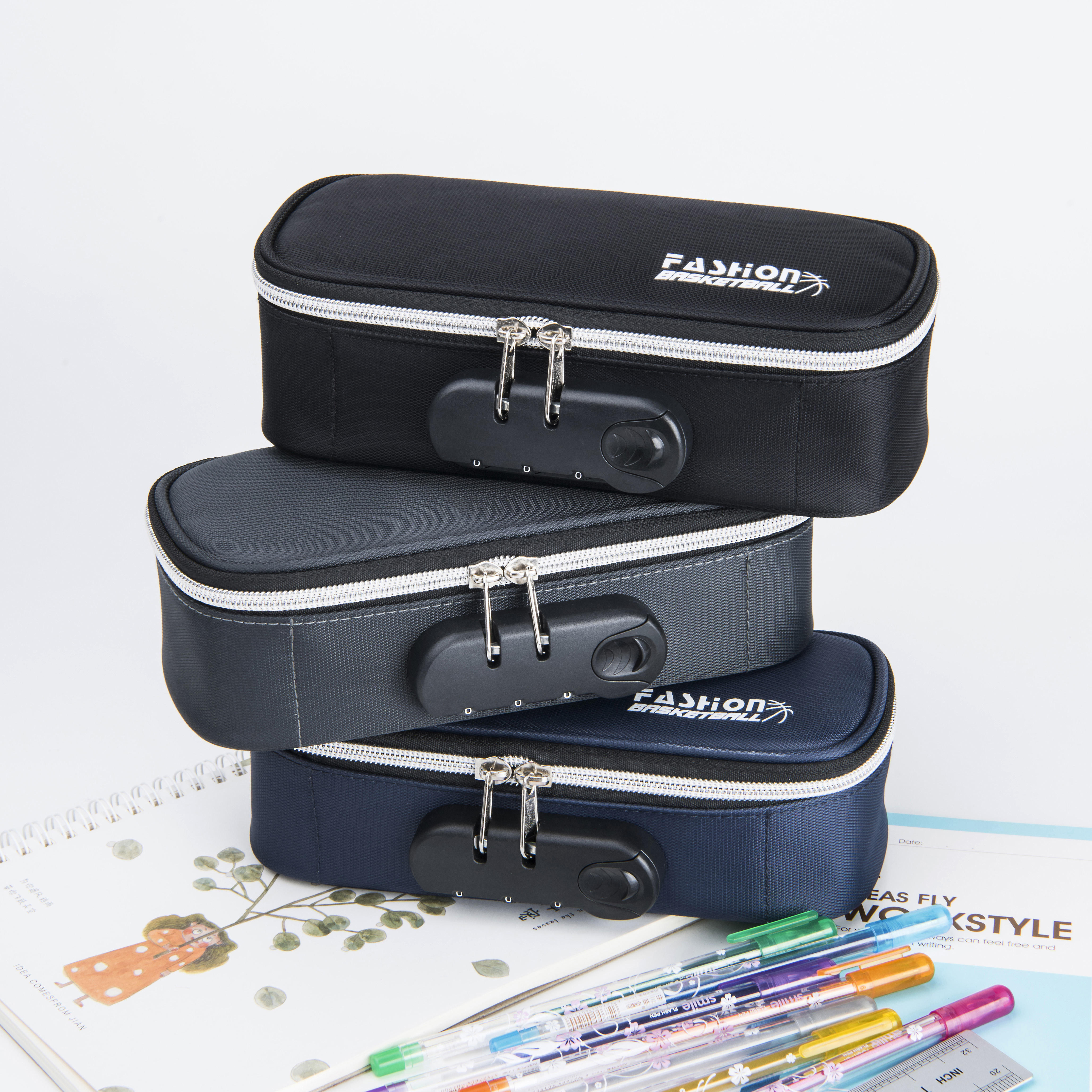 Portable design large capacity lock pencil case stock pen bag quality assurance wholesale pen case