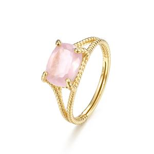 Famous brand jewelry gold plated S925 silver natural rose quartz ring