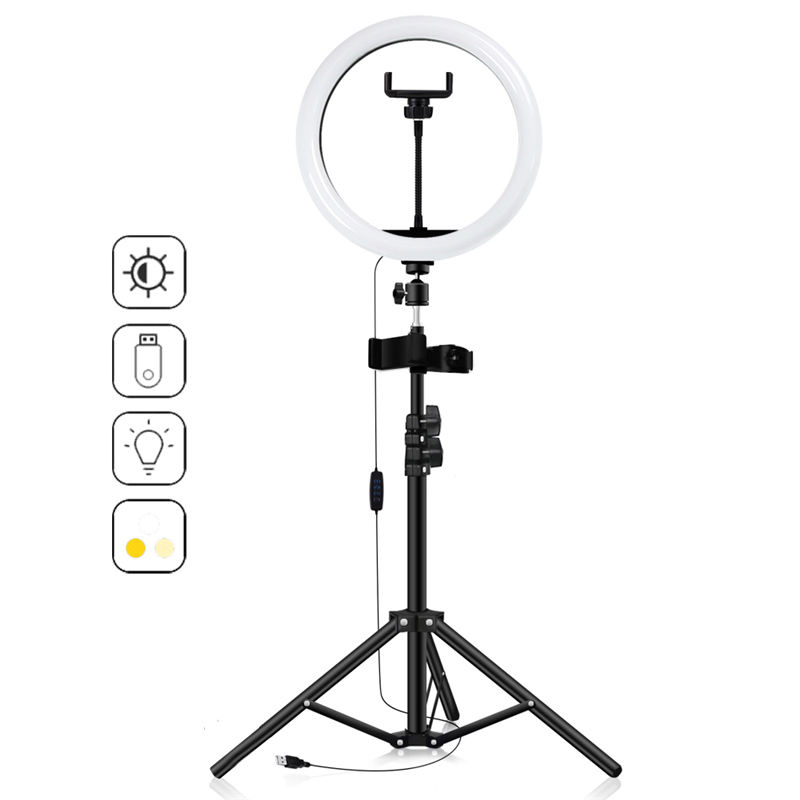 camera accessories mini ring light selfie fill led light ring light phone holder with tripod stand