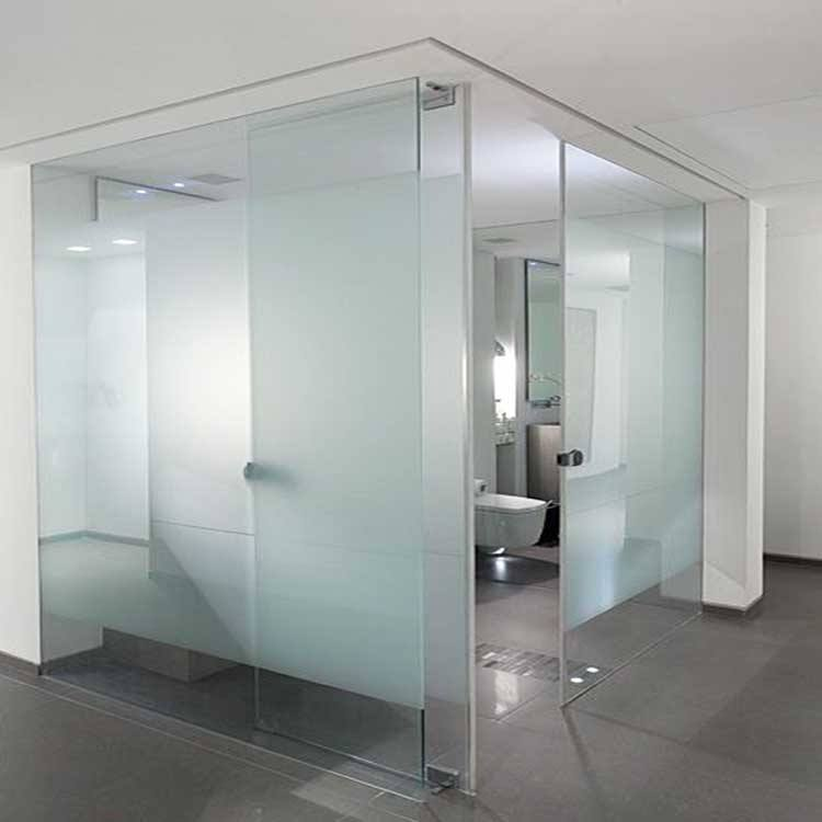 Factory price clear tempered acided etched frosted frameless glass bathroom shower enclosure door