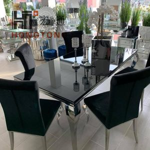 Italian High Quality Dining Table Set 6 Chairs Stainless Steel Chrome Tempered Glass