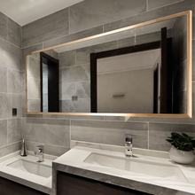 Hot Selling Modern Stainless Steel frame Brushed Copper decorative mirror set glass wall mirror