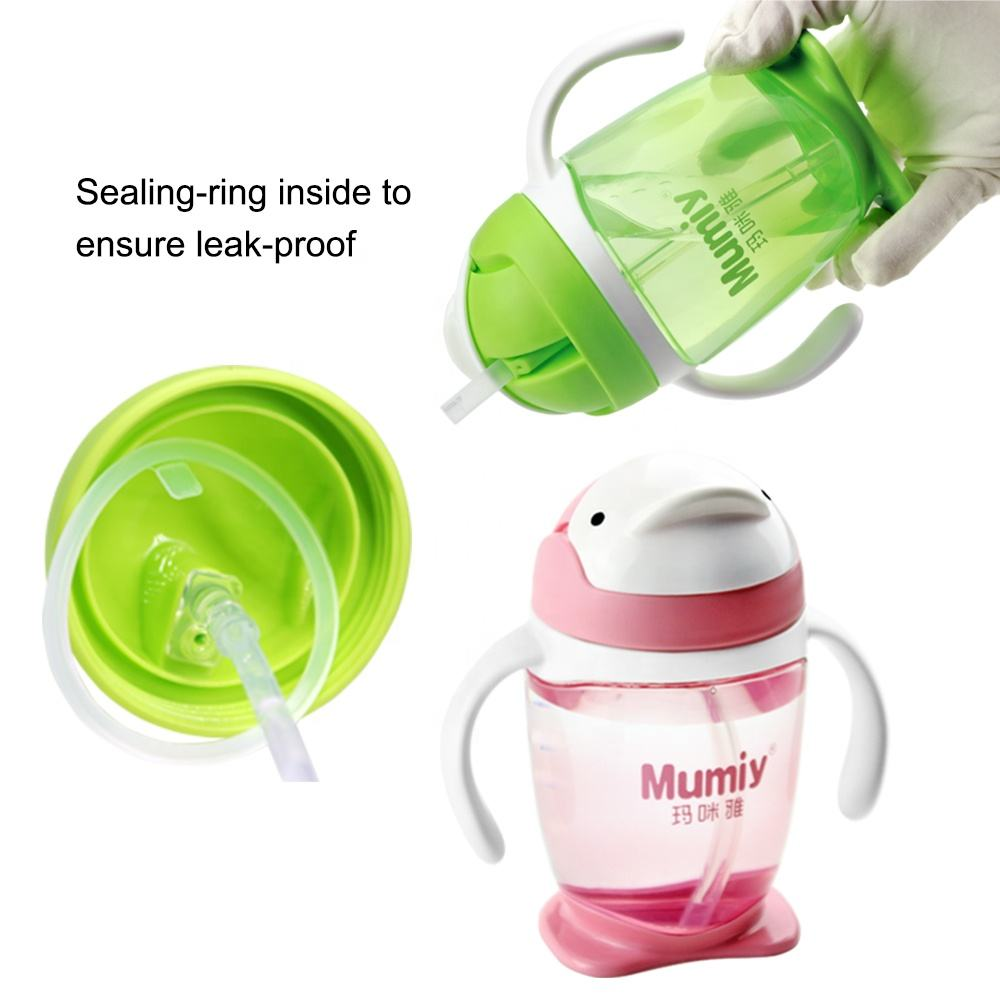 300ml PP Click lock Weighted straw baby training bottle cup