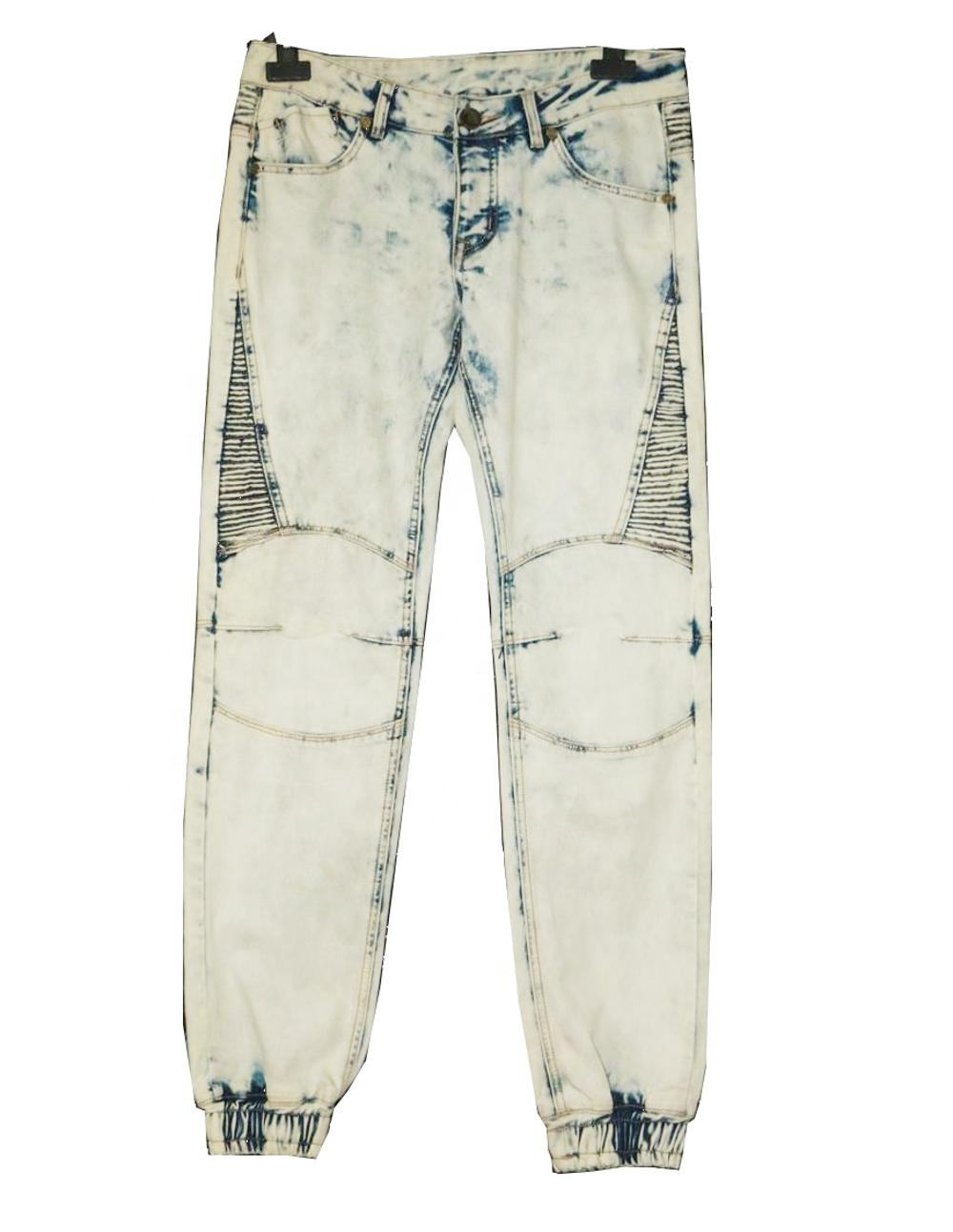 Royal wolf denim jeans manufacturer all over wash fry bleached biker style jogger pants