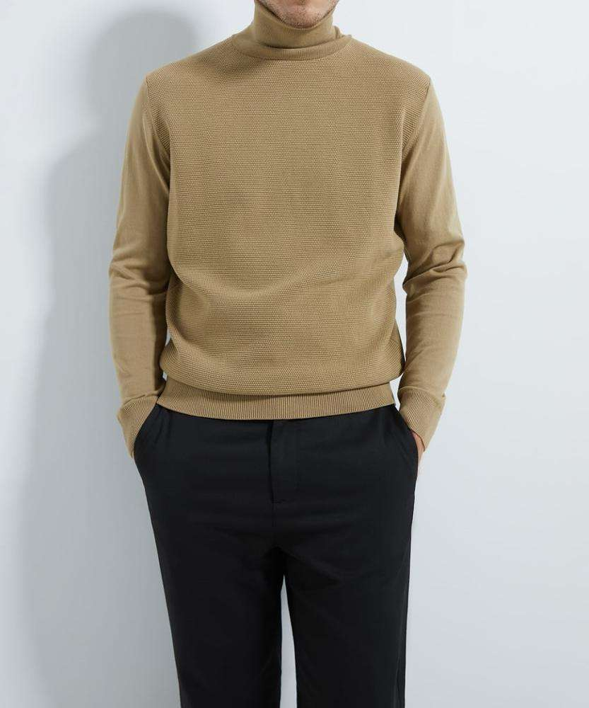 Light Brown Turtleneck Textured Sweater