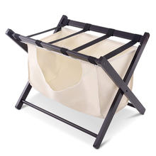 Folding Wood Hotel Luggage Rack Stand for Bedroom Guestroom with Laundry Cloth Bag