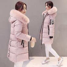 ladies warm hooded cotton-padded clothes women slim long down winter jackets women coats