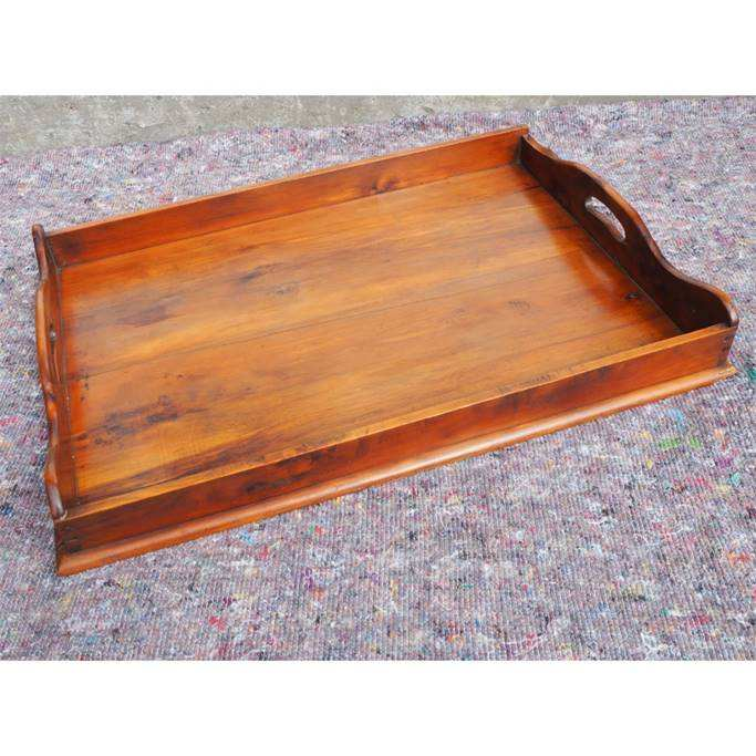 Solid yew wood tray with rectangular shape, made in india