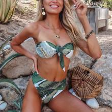 Bandeau Bikini Green Leaf Printing Buckle Swimsuit Two Kinds Of Weaving Method Removable Knot Swimwear