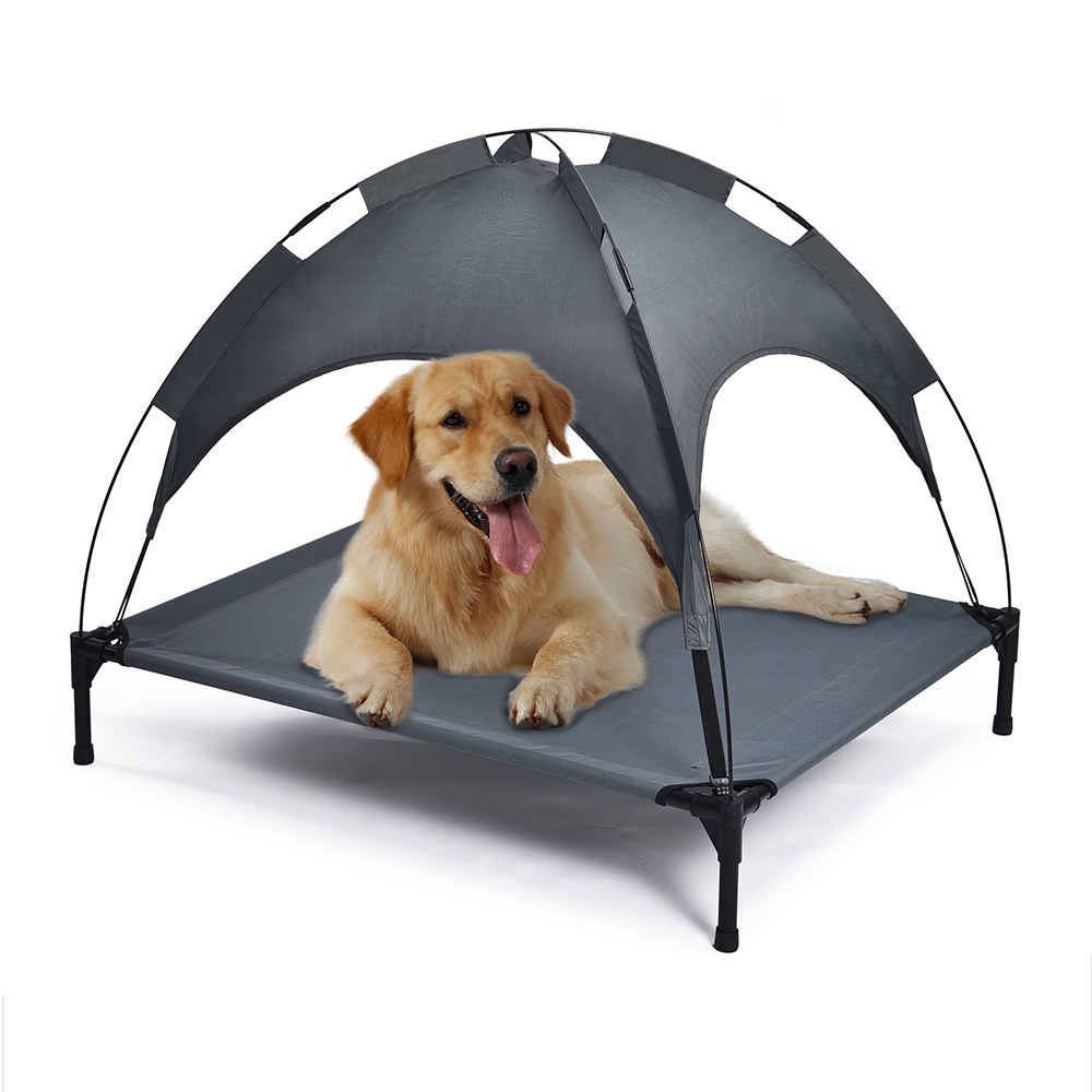Durable Indoor Outdoor Waterproof Raised Breathable Dog Tent Bed With Canopy Shade
