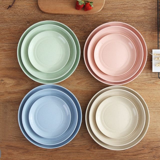 Low MOQ Eco Green Material Wheat Straw Plate Dish Dinnerware Natural Plant Biodegrade Tablewares For Home Use