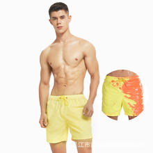 Custom short Logo Color Changing Swim Trunks Heat Reactive Swimwear Beach Shorts , Board Shorts Quick Dry and Durable swimwear