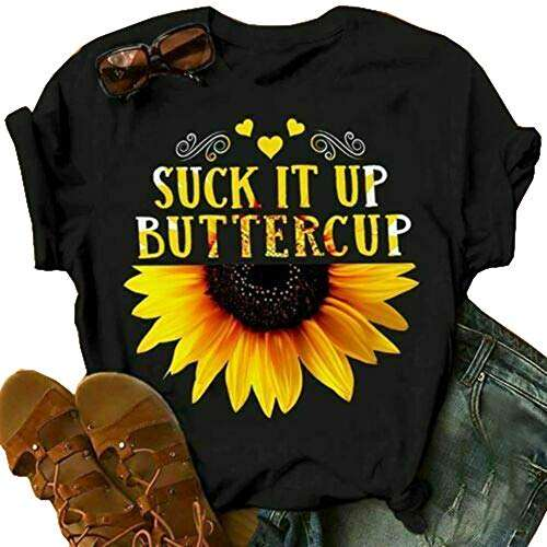 Chic Street Style Girls White Short Sleeve Crew Neck Suck It Up Buttercup Sunflower Graphic Contrasted Fit Crop