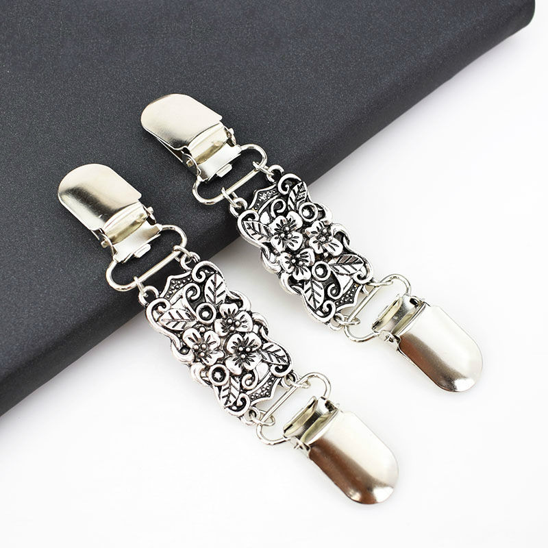Deepeel KY299 Antique Silver Sweater Cardigan Hook Retro Metal Buttons Decorative Garment Buckle Connection Clips for Clothing