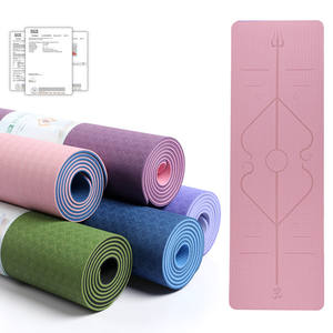 Competitive price High Density Anti-Tear Exercise double TPE YogaMat with Carrying Strap