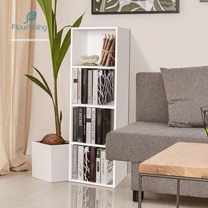 Opening Design 4 tier white custom made floor corner bookshelf