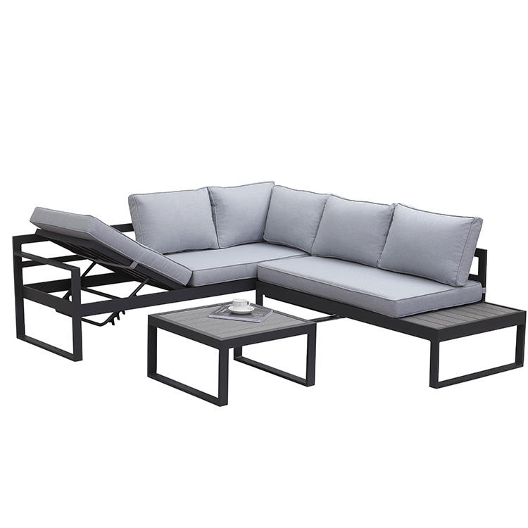Hot sale outdoor garden furniture set patio furniture aluminum sofa with lounge bed
