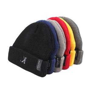 Unisex Cuff Woven Label Ski Cap Knitted Acrylic Winter Hats Custom Skull Beanie