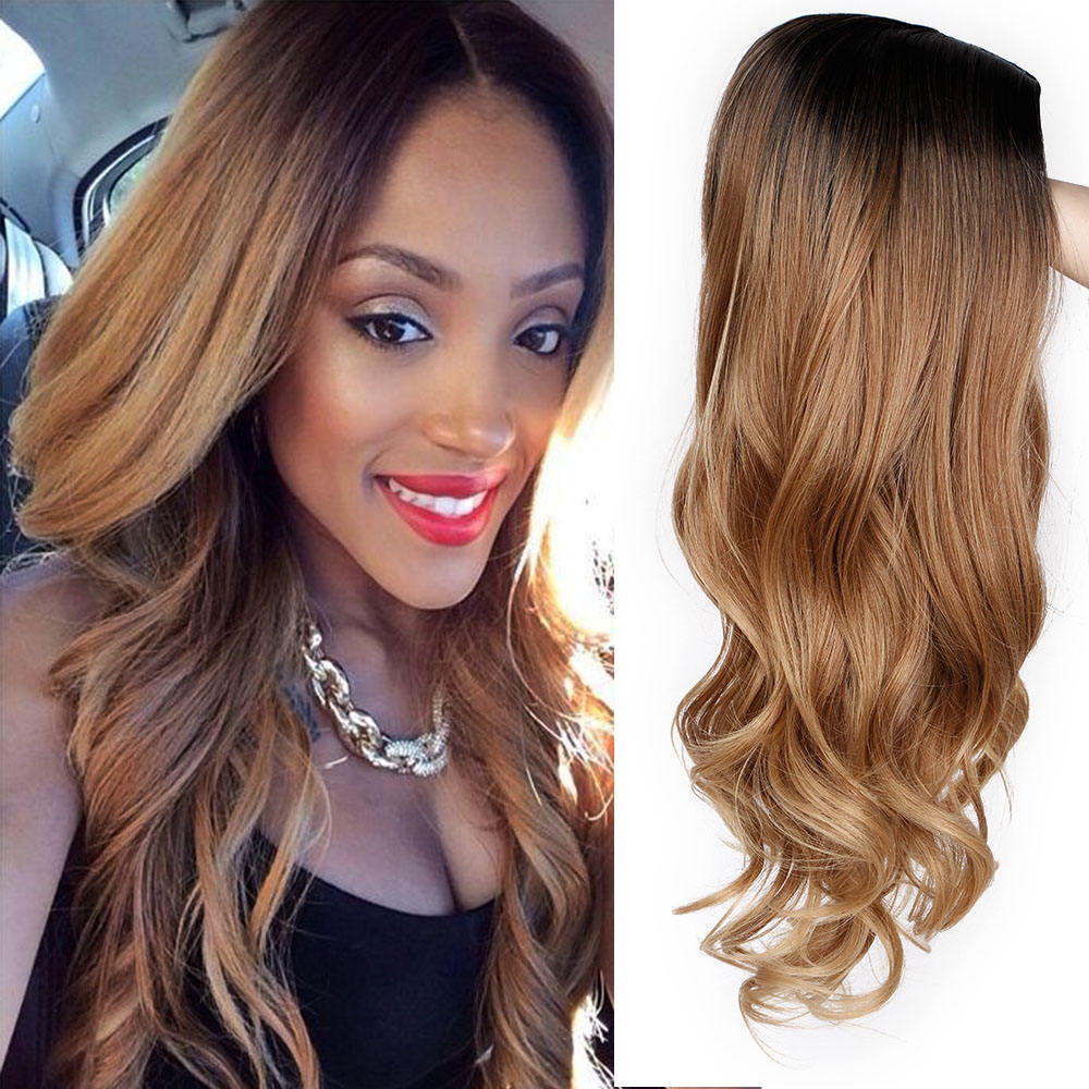 Vigorous Wholesale Long Ombre Brown Wavy Cosplay Clip In Synthetic Hair Extensions Wigs For Black Women Heat Resistant Hair Wig