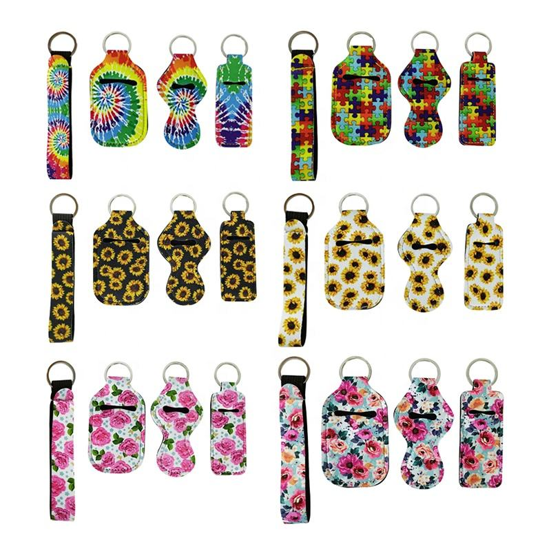 RTS Wholesale Customized Design Lip Gloss Holder Keychain Neoprene Chapstick Holder Keychain Wristlet Lanyard Keychain