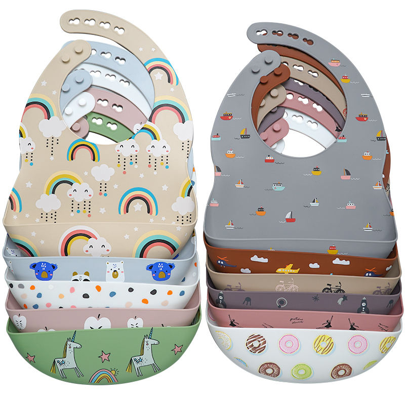 New Product Ideas Printing Silicone Bibs Mix Color Silicone Bibs Waterproof Products Baby Bibs