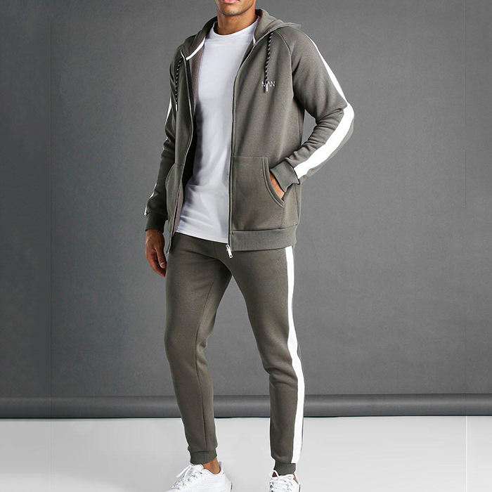 sportswear fitness apparel Cotton khaki man muscle fit hooded detail tracksuit
