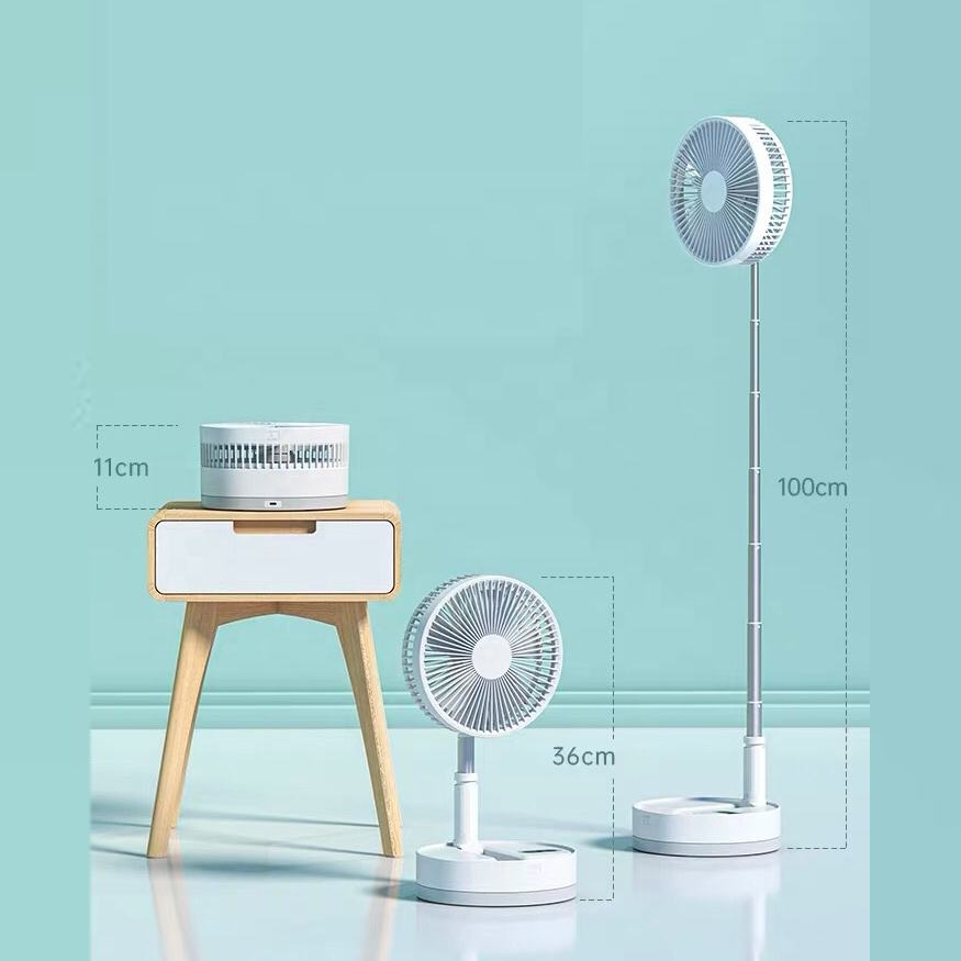 Height Adjustable Standing Fan Foldable and Portable Floor Fan 4 Speeds Super Quiet 7200mAh Rechargeable Battery Mini USB Fan