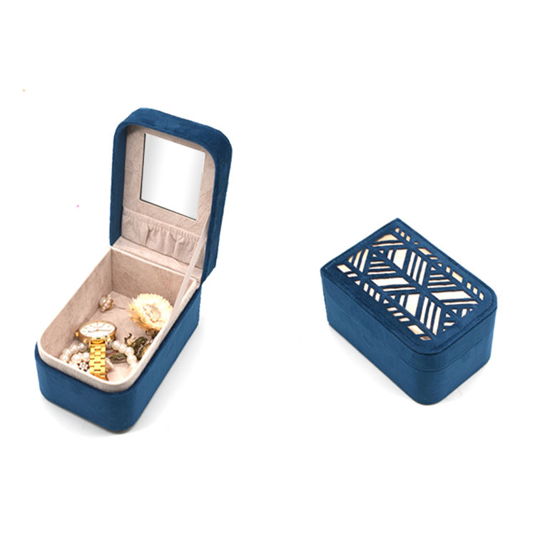PU Leather Jewelry Box Professional Custom Velvet Mirror Ring Jewelry Box With Logo Printing