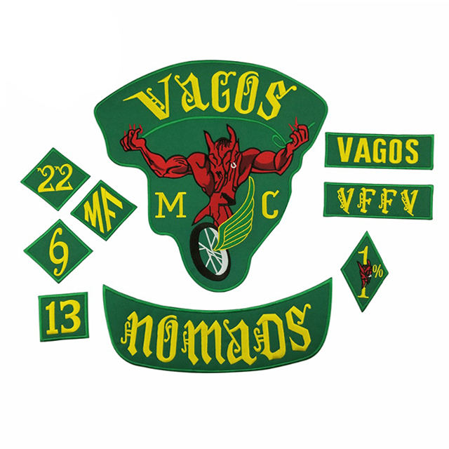 VAGOS NOMADS MC 1% Full Set Back Biker Large Embroidery Patches Clothing Motorcycle Jacket Iron on