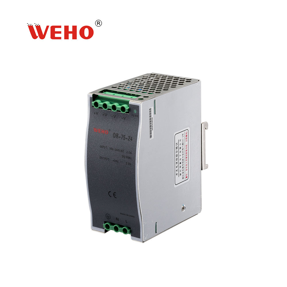 single output din rail power supply 230vac to 24vdc 75W