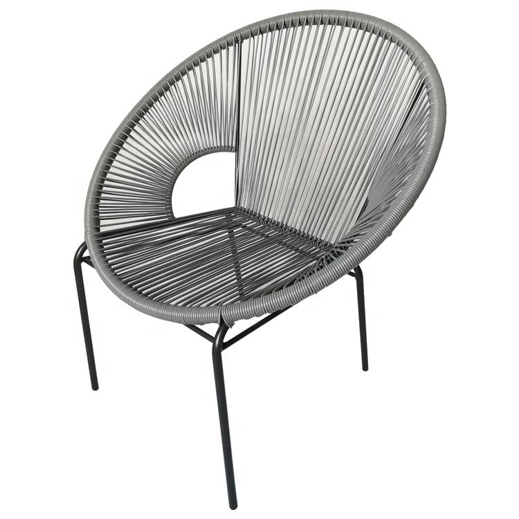 Acapulco Indoor and Outdoor Garden Balcony Round Rattan Stackable Patio Lounge Egg Chair,Grey