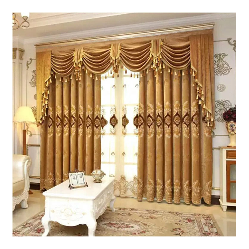 Ready made store hotel designs living room bedroom cheap European blackout fabric curtain
