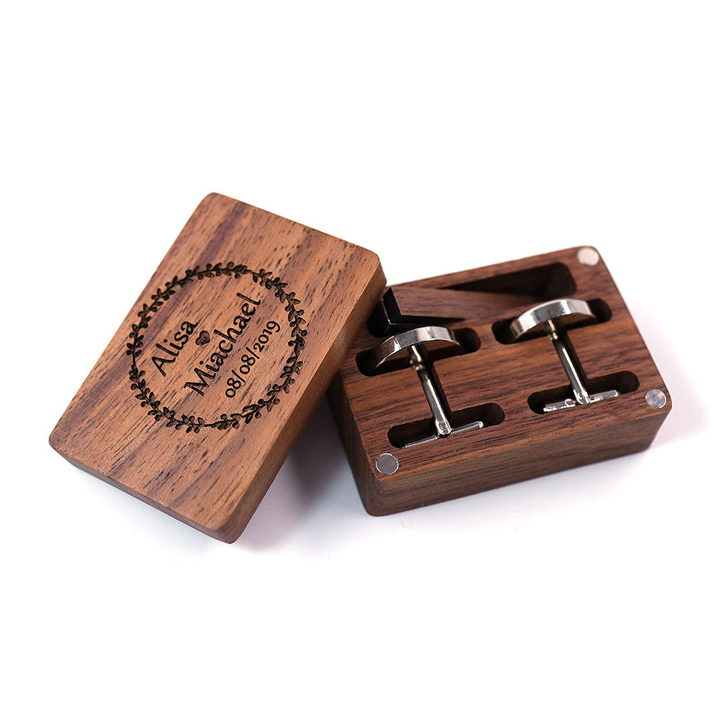 Cheap Wholesale Custom Fashion Wooden Cufflink For Men