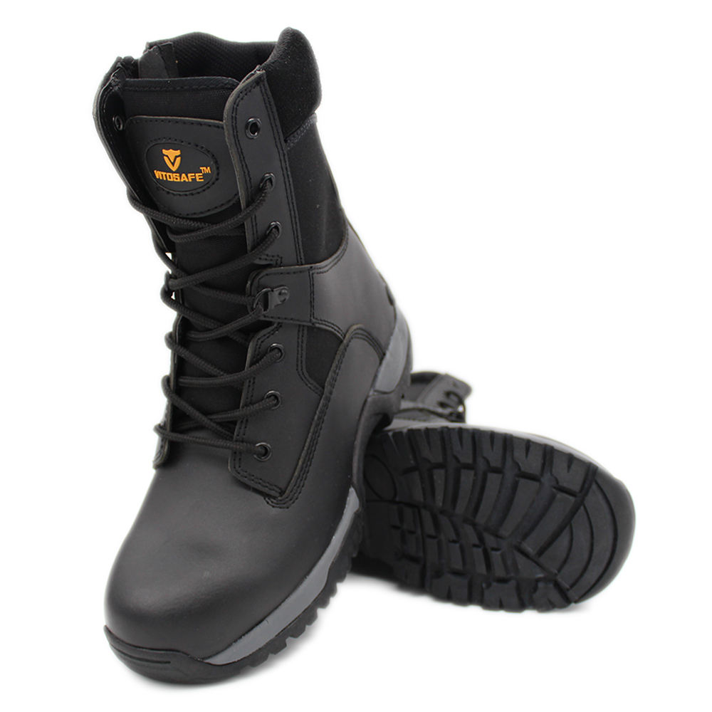 patent leather military en345 standard saudi arabiya army custom jungle combat waterproof plastic toe safety shoes / boots