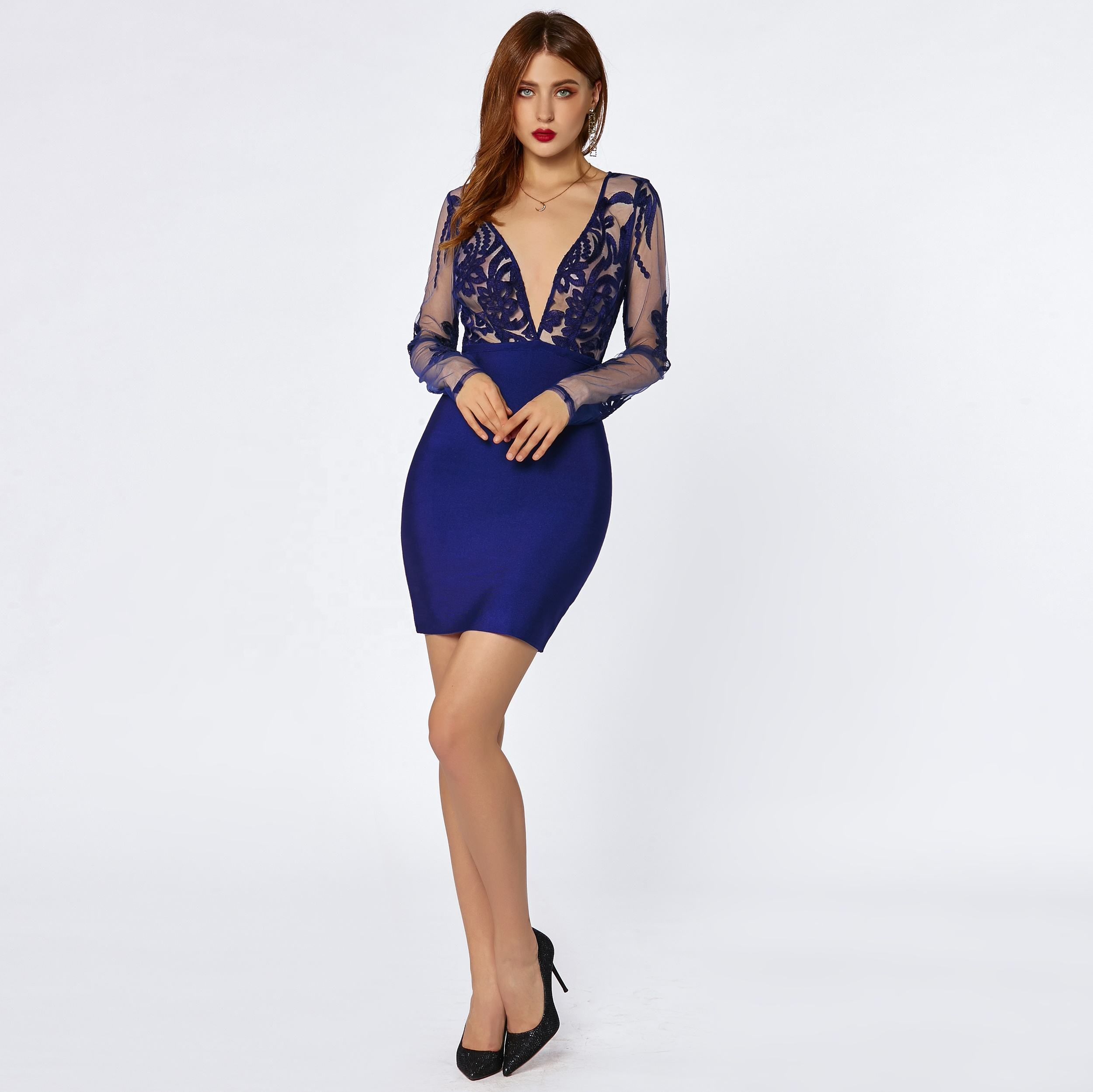 Factory binhar royal blue mesh lace v neck evening party club elegant sexy bandage bodycon dress for women