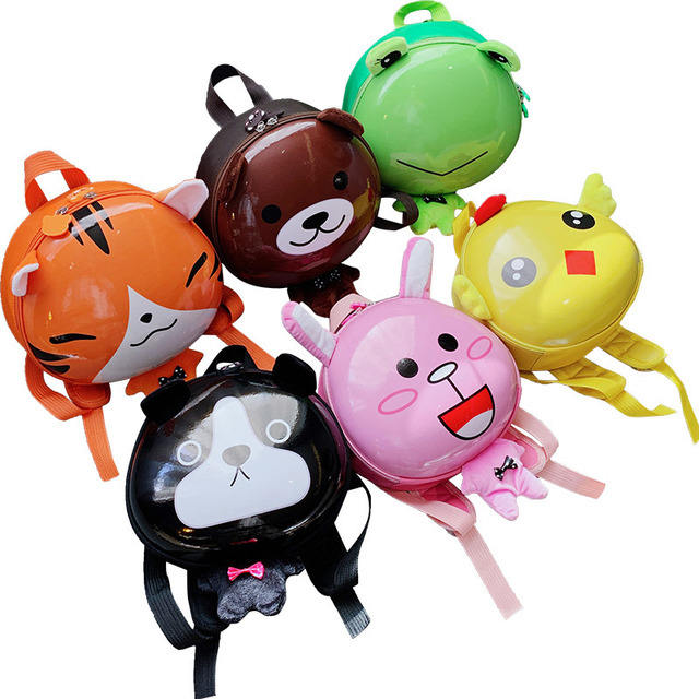 New design Children School Bag gift boy and girls cute cartoon animal egg shape backpack