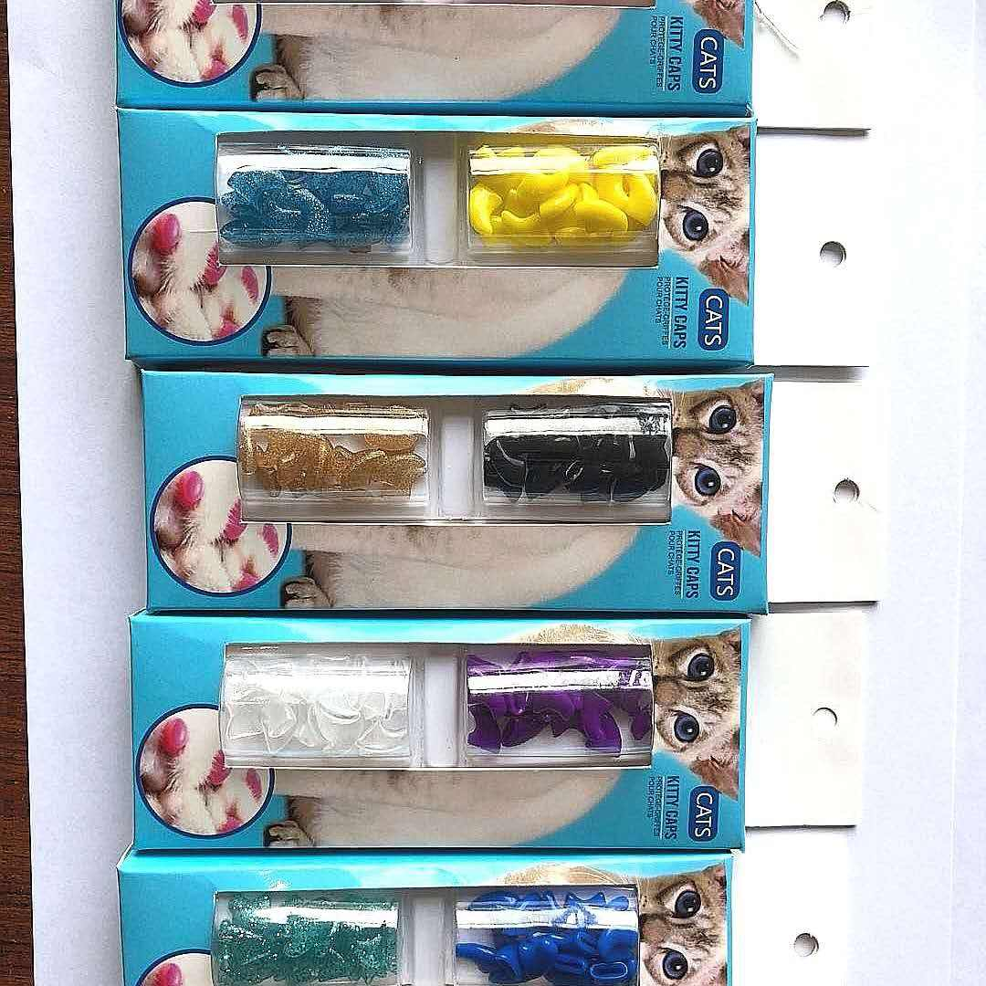 pet cat nail caps crystal plate pet dog nail caps in a color box