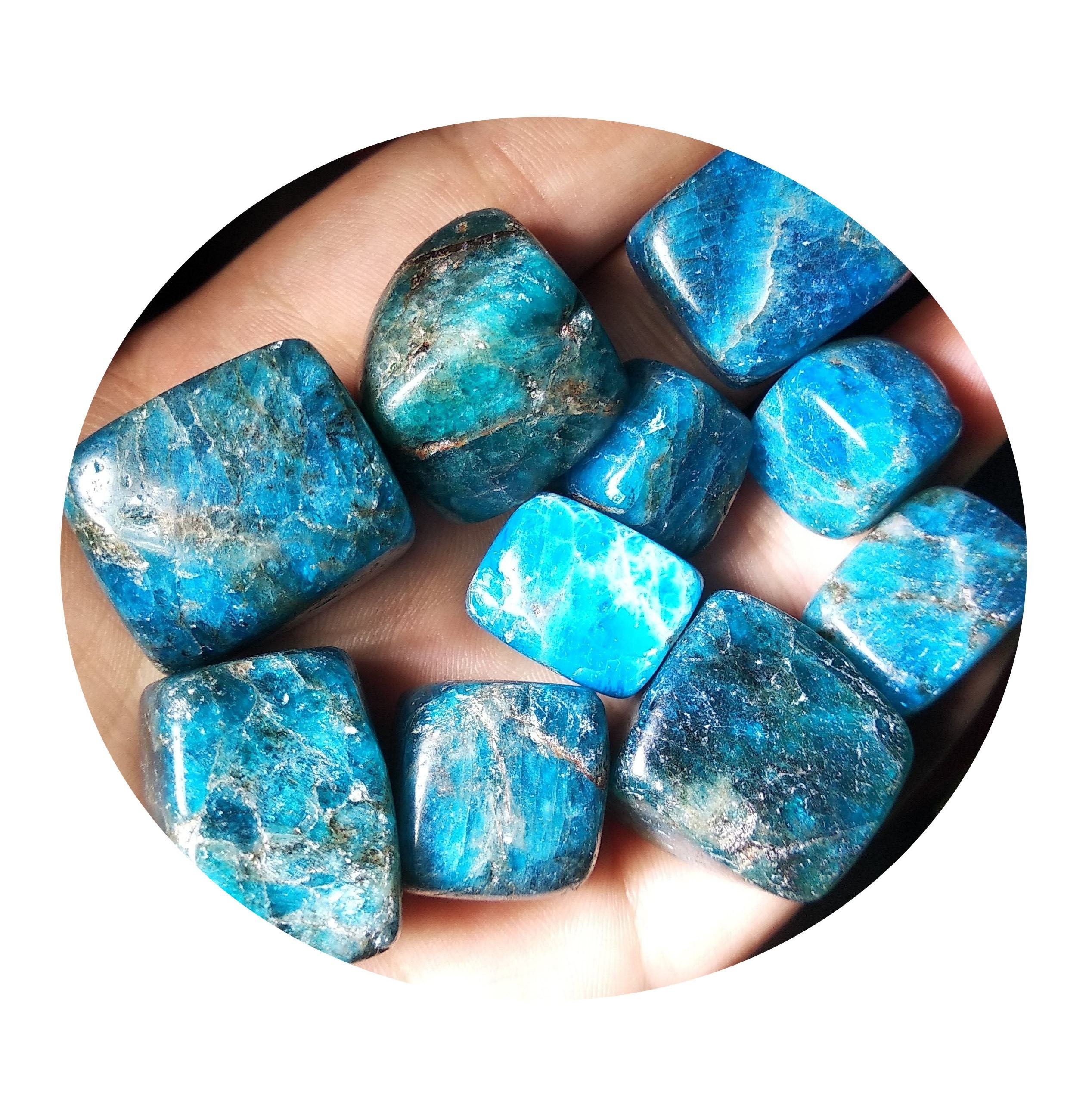 Natural blue apatite stone tumbled polishing crystal gravel crushed crystal for wholesale