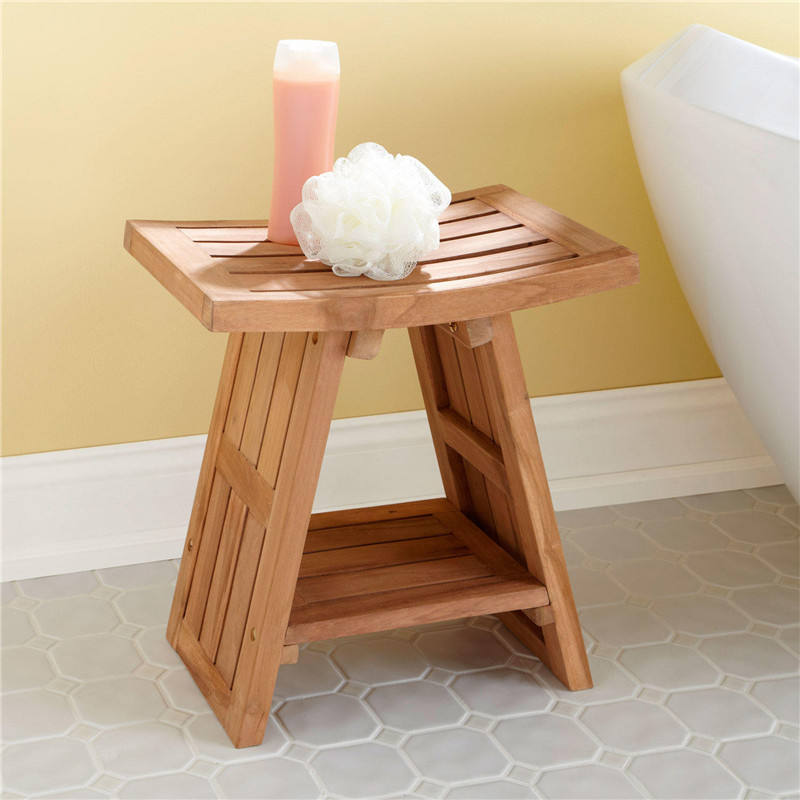 Sea Teak Wood Mould Proof Bathroom Shower Storage Bench Bath Stool