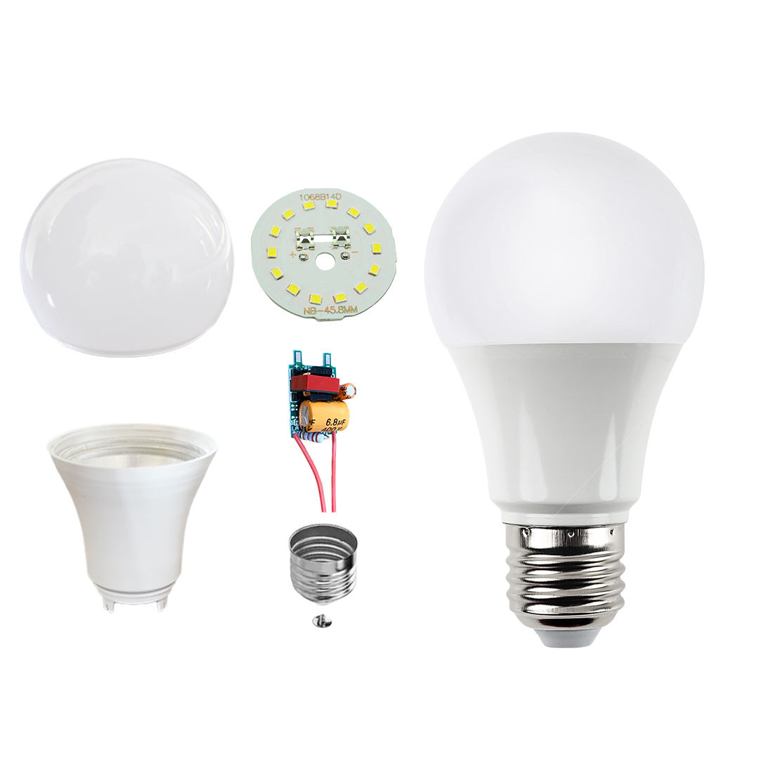 China supplies Zhongshan Lighting AC220V 3W 5W 7W 9W 12W LED Bulb raw material, led light SKD/CKD
