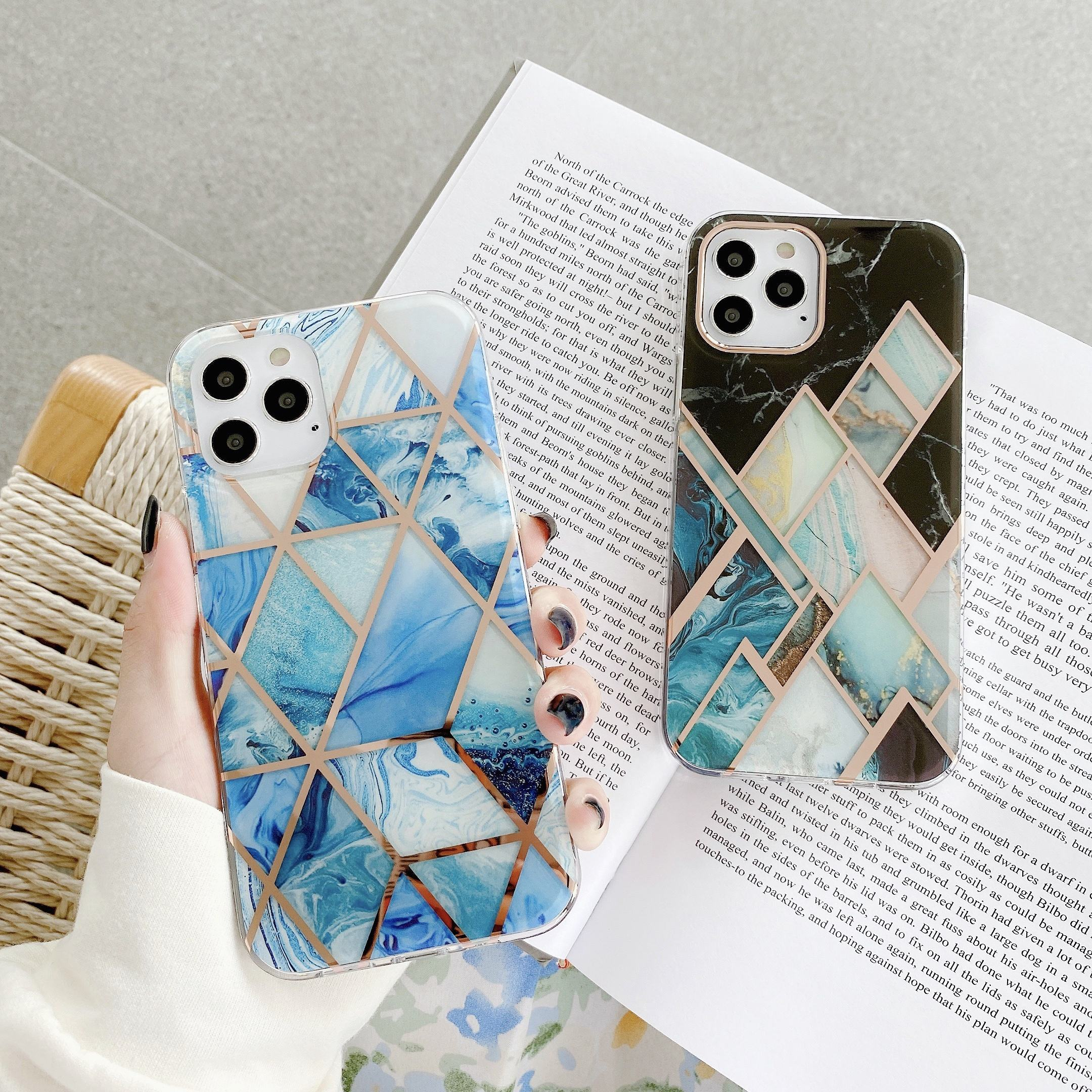 Custom OEM TPU Marble Back Cover for iPhone 11/11 Pro/11 Pro Max, Electroplated Marble Phone Case for iPhone 12 Mini/12/12 Pro