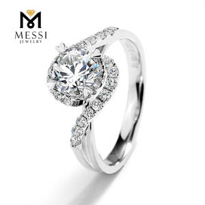 Messi Jewelry Claw Setting Engagement 18k White Gold 6.5mm 1ct Moissanite Rings Jewelry