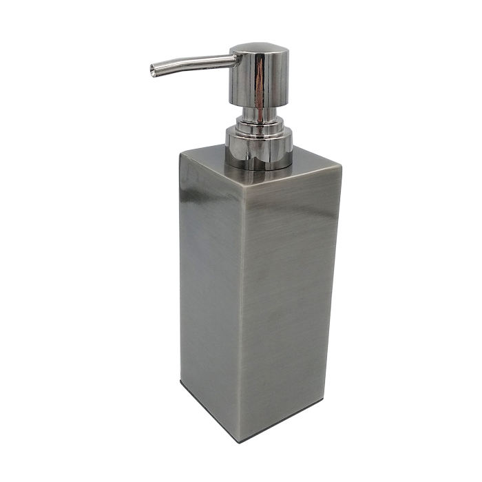 350/400ml luxury brushed dark silver square stainless steel bathroom lotion bottle with pump