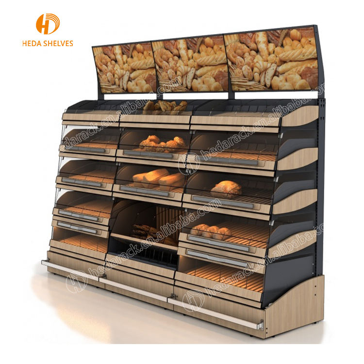 Concise Wood 3-Layer Stylish Bakery Shop Health Care 4-Caster Movable Wooden Floor Bread Display Stand