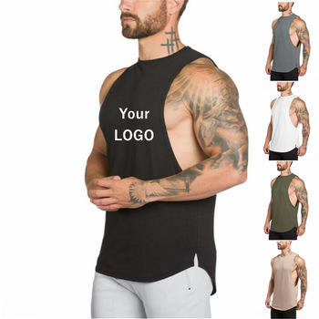 Custom logo gym muscle tee mens sleeveless t shirt / wholesale men sleeveless t shirt