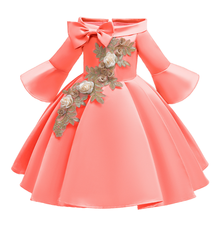 Guangzhou garment factory wholesale kid's embroider flower long flare sleeve bowknot pleated party dresses