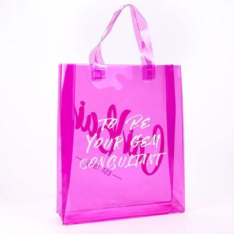 custom size and logo waterproof pvc color clear transparent women lady pvc handbag promotional gift bag